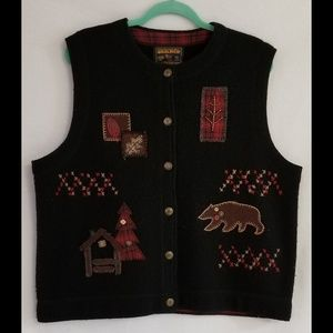 Vintage Woolrich Black Wool Vest Woodsy Beat